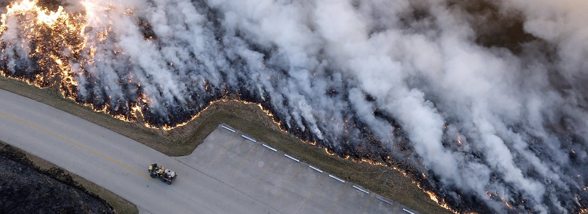 Drone Arrival at prescribed burn at Illinois state park